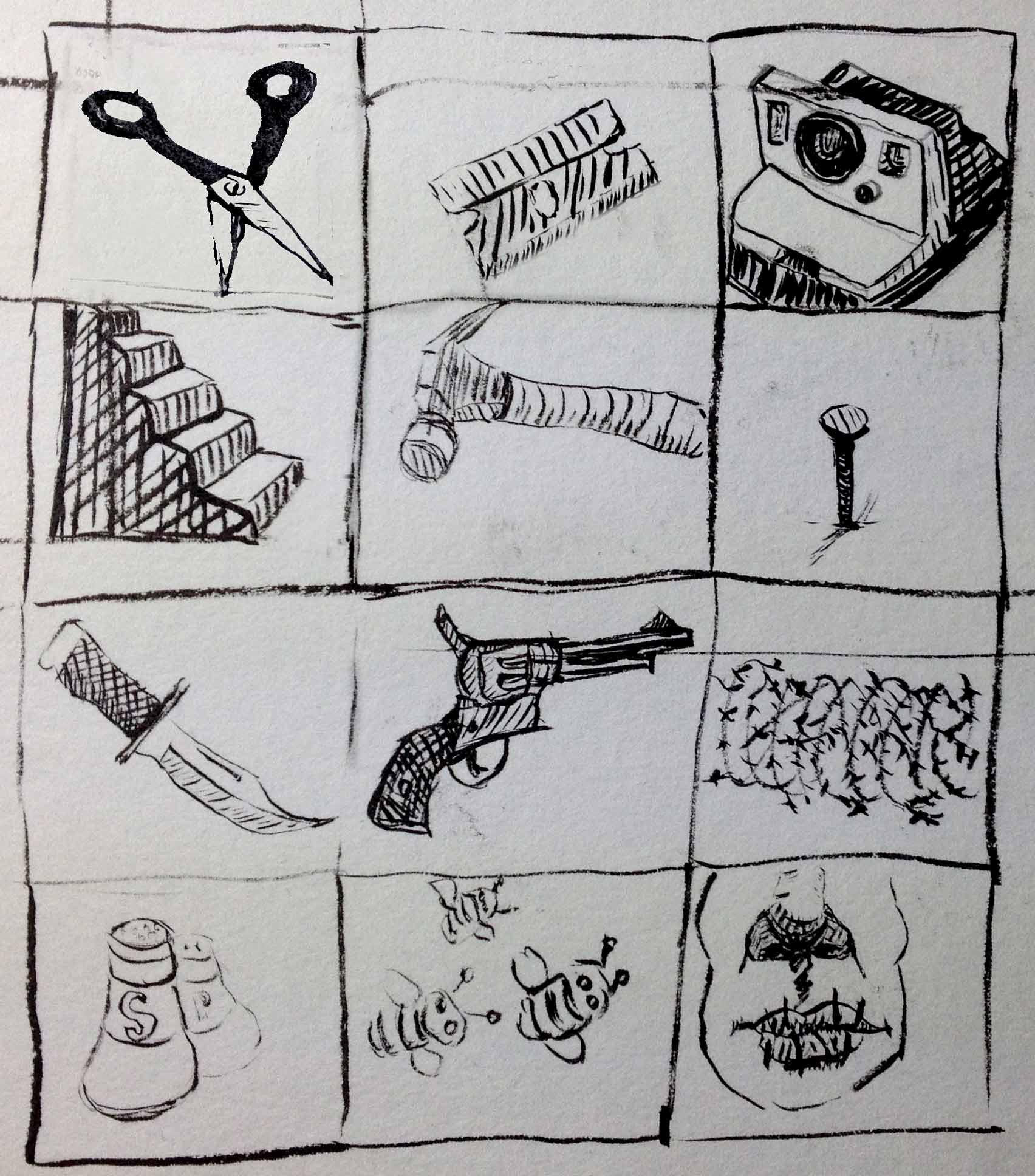 Drawing of dangerous Items