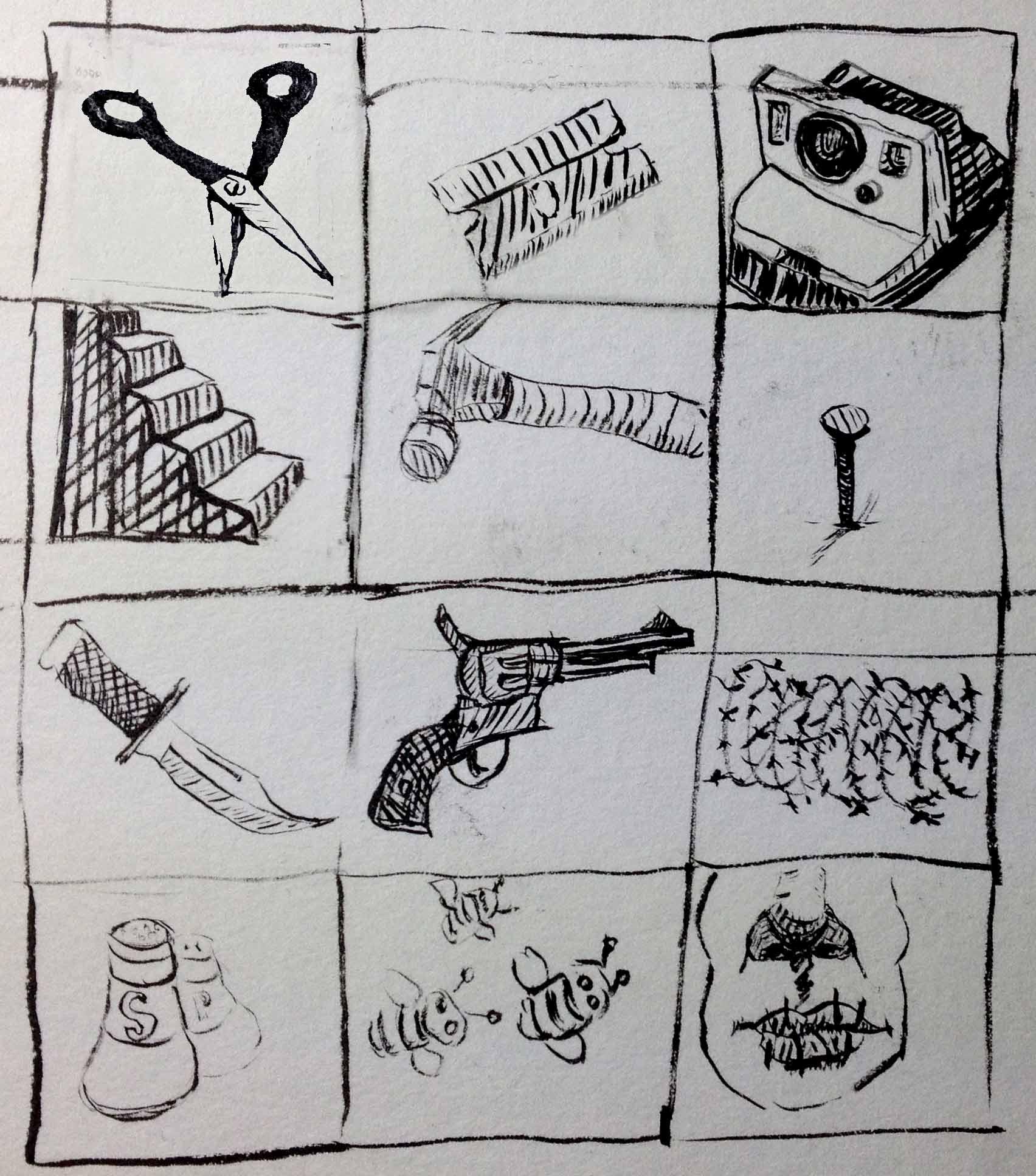 Drawing of dangerous Items