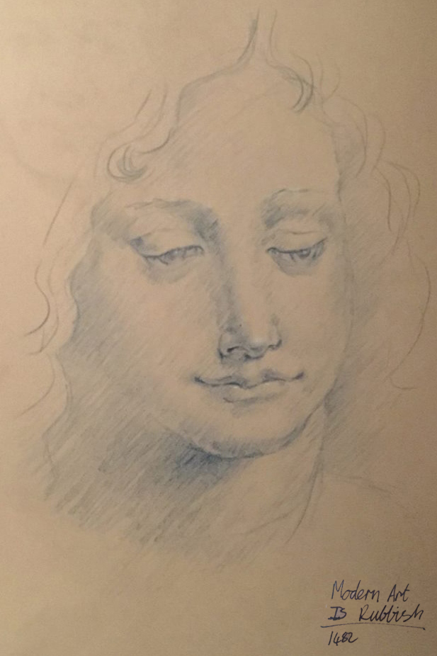 renaissance style drawn portrait for Modern Art is Rubbish Podcast