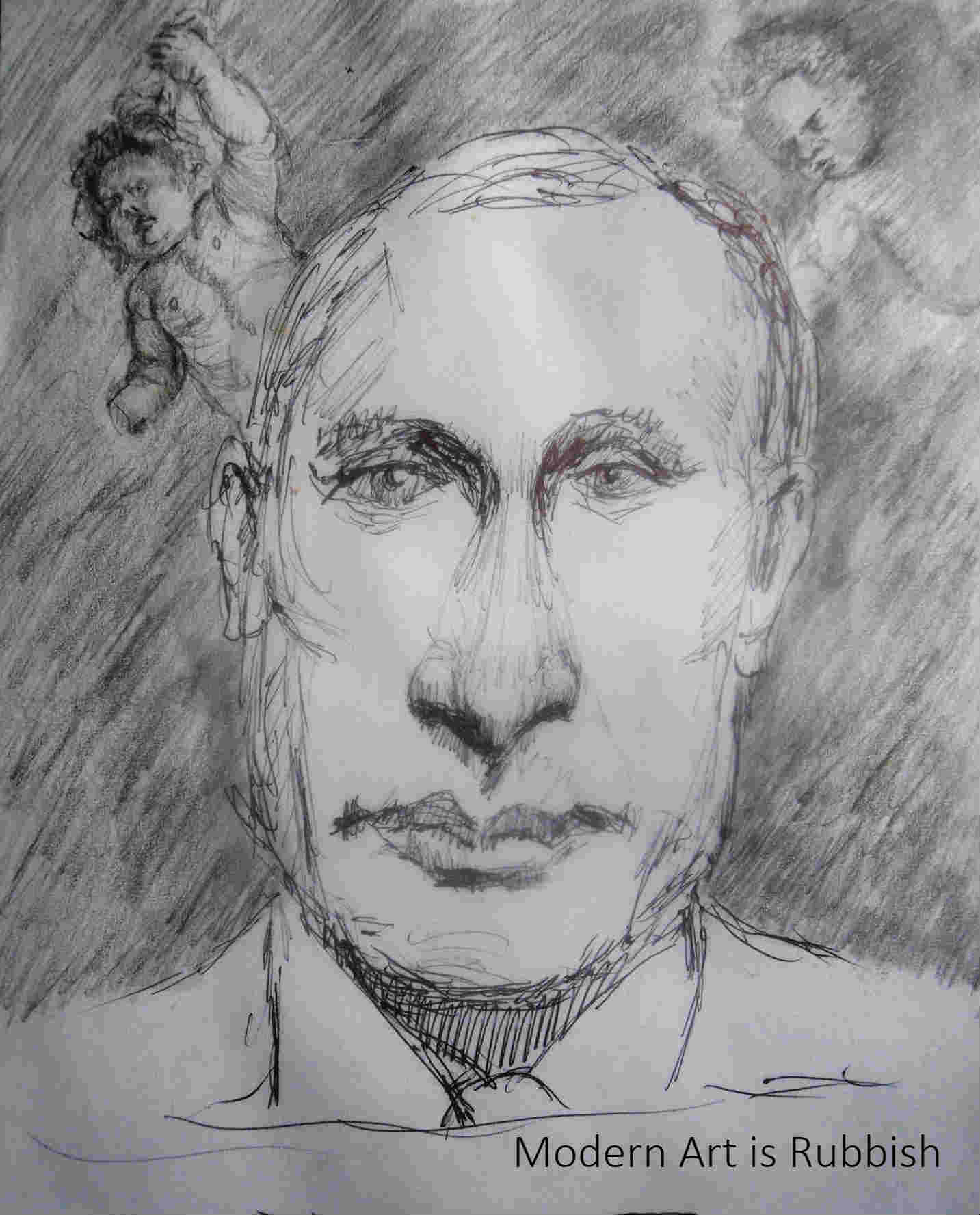 A pen drawing of Vladmir Putin for the podcast Modern Art is Rubbish