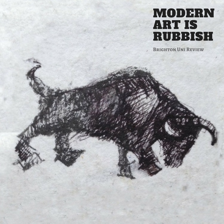 An cover artwork for a pod about a Brighton Uni Show featuring a drawing of a Bull