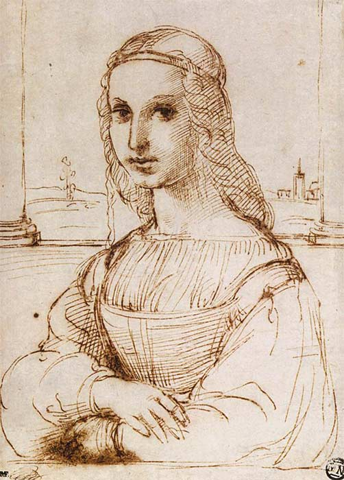 Raffaello_Sanzio_-_Portrait_of_a_Woman sketch of Leonardo Davinci's Mona Lisa