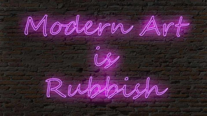 Neon Modern Art is Rubbish Sign